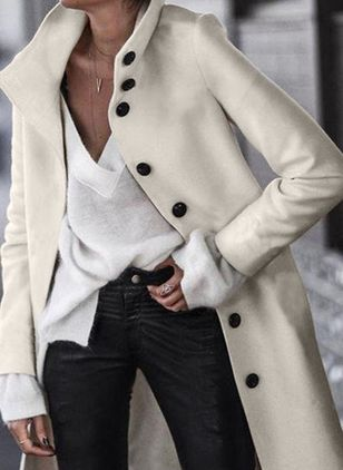 Long Sleeve High Neckline Buttons Coats (4037934)