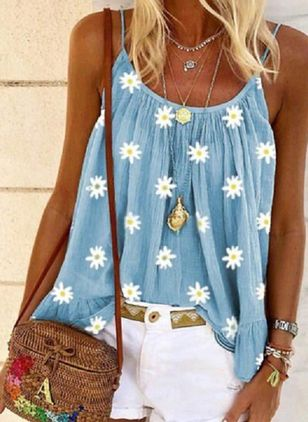Plus Size Floral Camisole Neckline Casual Shift Blouses Sleeveless Plus Blouses (4356087)