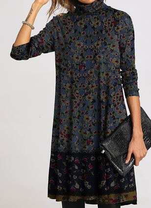 Casual Floral Tunic High Neckline Shift Dress (118207716)