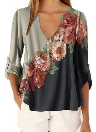 Floral Casual V-Neckline Long Sleeve Blouses (1529731)