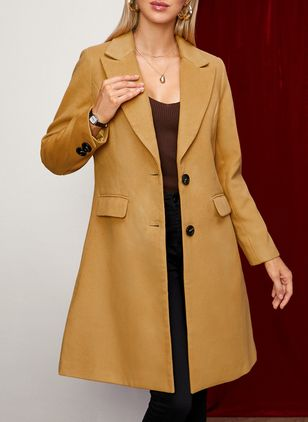 Long Sleeve Buttons Trench Coats (146683553)