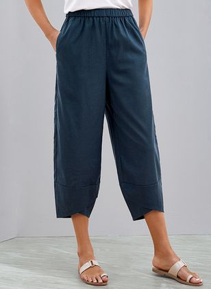Casual Loose Pockets Mid Waist Cotton Blends Pants (1536963)