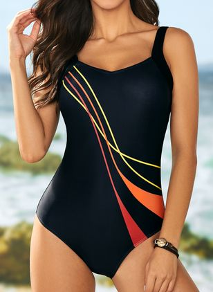 Polyester Halter Color Block One-piece Swimwear (1348604)