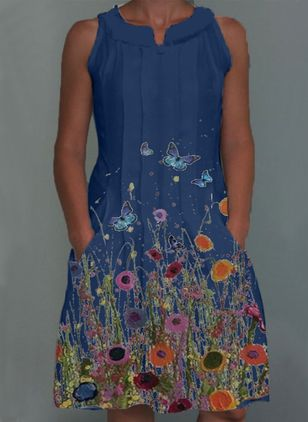 Casual Floral Shirt Round Neckline A-line Dress (100546632)