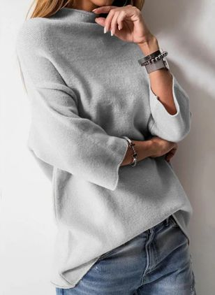 High Neckline Solid Casual Loose Regular Shift Sweaters (118207687)