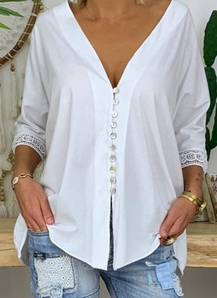 Solid Casual V-Neckline Half Sleeve Blouses (147006131)