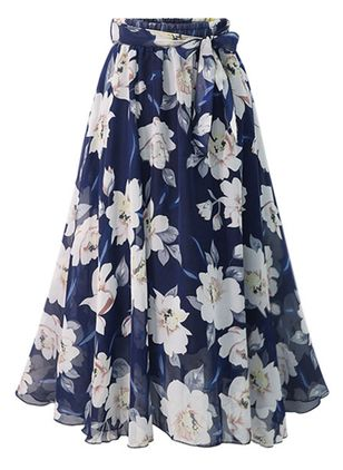 Floral Mid-Calf Casual Sashes Skirts (1384167)