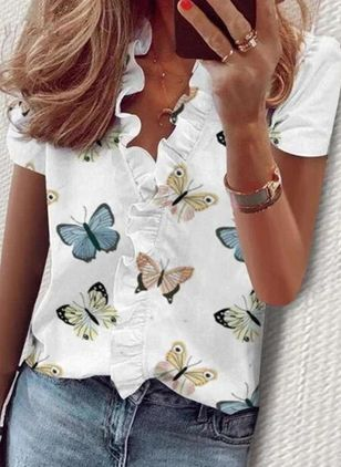 Animal Casual V-Neckline Short Sleeve Blouses (118207676)