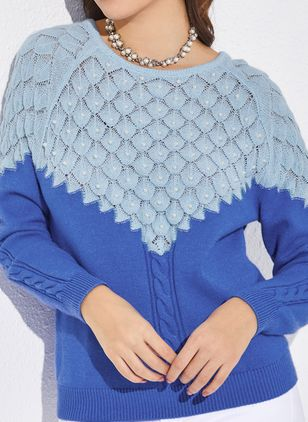 Round Neckline Color Block Loose Regular Beading Hollow Out Shift Sweaters