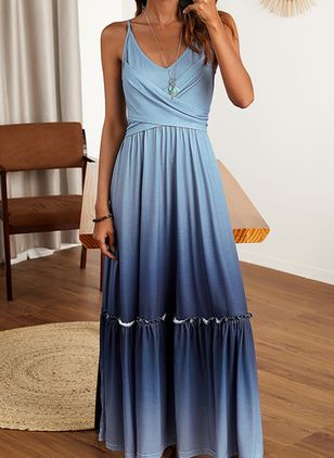 Casual Solid Camisole Neckline Maxi X-line Dress (1537251)