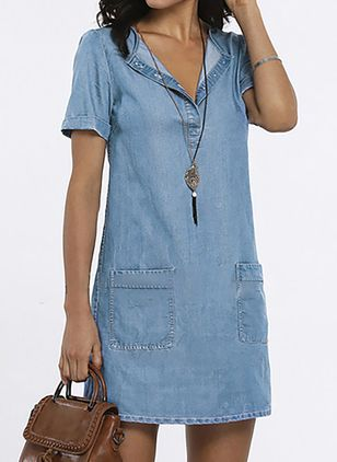 Casual Solid Tunic V-Neckline Shift Dress (1537279)