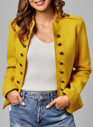 Long Sleeve High Neckline Buttons Pockets Coats Jackets (1365640)