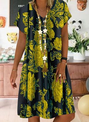 Casual Floral Tunic V-Neckline A-line Dress (4209572)