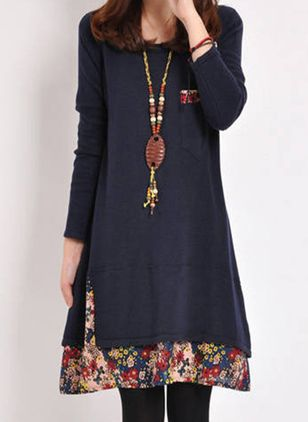 Casual Floral Tunic Round Neckline A-line Dress (120647969)