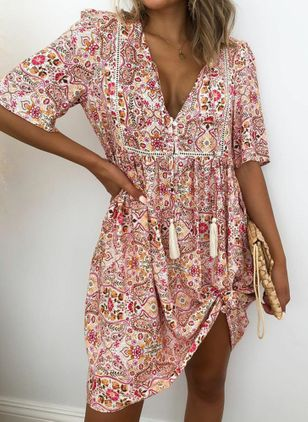 Casual Floral Tunic V-Neckline Shift Dress (4356282)