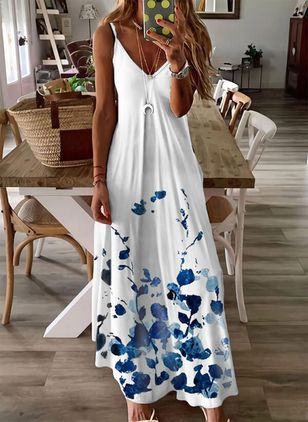 Casual Floral Camisole Neckline Maxi Shift Dress (147142162)