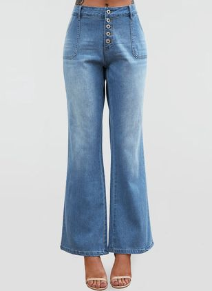 Casual Bootcut Buttons Pockets High Waist Polyester Jeans (4209256)