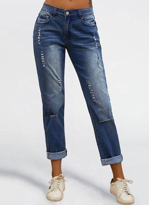 Casual Skinny Buttons Pockets Mid Waist Denim Jeans (1536909)