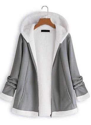 Long Sleeve Round Neck Zipper Coats