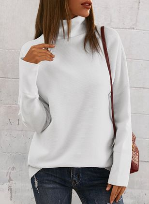 High Neckline Solid Casual Loose Long Shift Sweaters (146908659)