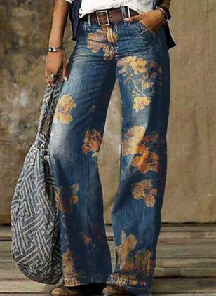 Casual Loose Pattern Pockets Mid Waist Polyester Jeans Pants (146913100)