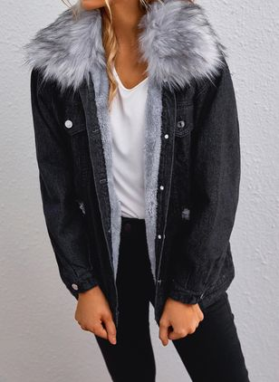 Long Sleeve Hooded Buttons Zipper Pockets Unremovable Fur Collar Denim Jackets (127657519)