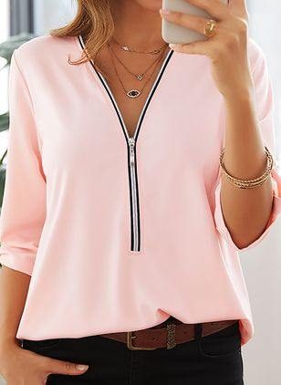 Solid Casual V-Neckline Half Sleeve Blouses (1453223)