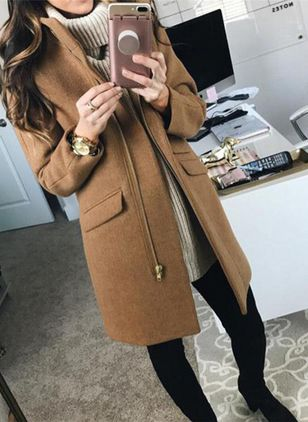 Long Sleeve Lapel Zipper Pockets Coats (120647982)