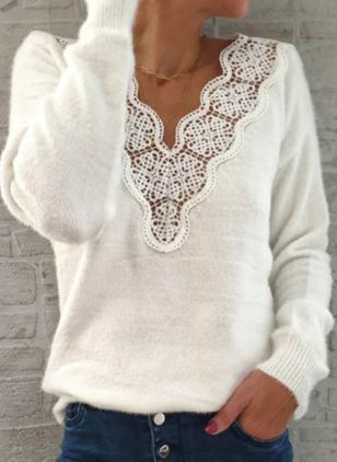 V-Neckline Solid Elegant Loose Regular Lace Hollow Out Sweaters (107422986)