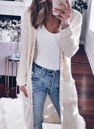 Long Sleeve Collarless Pockets Sweaters Coats