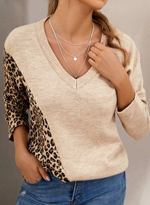 V-Neckline Leopard Casual Loose Regular Shift Sweaters (128228074)