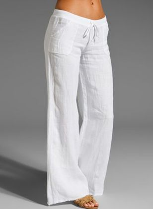 Casual Loose Pockets Mid Waist Cotton Blends Pants (101988123)