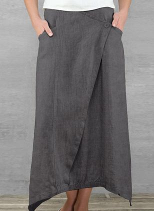 Solid Maxi Casual Buttons Pockets Skirts (4356022)