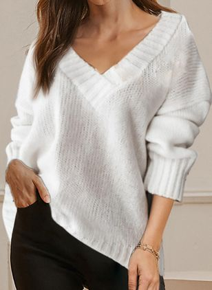 V-Neckline Solid Casual Loose Regular Shift Sweaters (146718899)