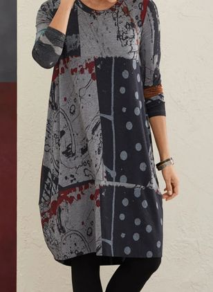 Casual Polka Dot Tunic Round Neckline A-line Dress (110711668)