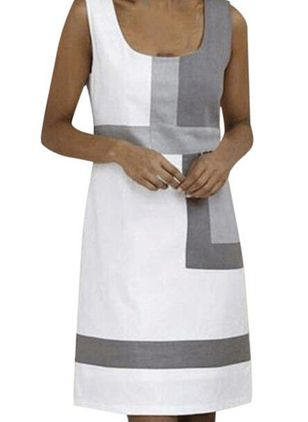 Casual Color Block Tunic Round Neckline A-line Dress (4356009)