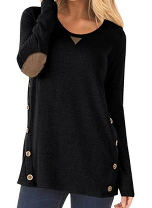 Round Neckline Color Block Casual Loose Regular Buttons Sweaters (107423003)