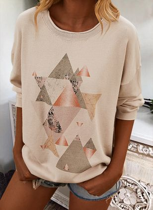 Round Neckline Geometric Casual Loose Regular Shift Sweaters (146908730)