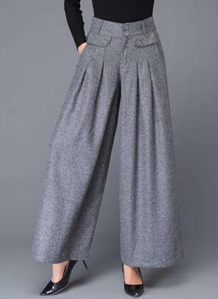 Casual Loose Buttons Pockets High Waist Polyester Pants (146780829)