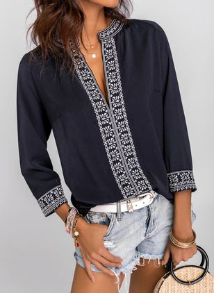 Color Block V-Neckline Long Sleeve Blouses