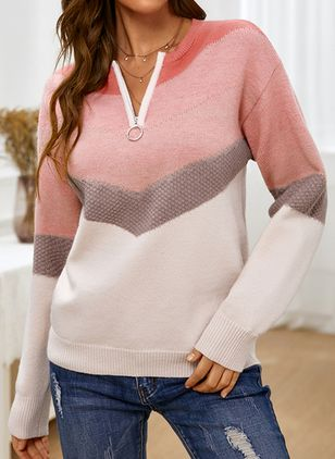 V-Neckline Color Block Casual Regular Zipper Sweaters (146931680)