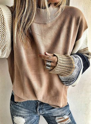 Round Neckline Color Block Casual Loose Regular Shift Sweaters (1452281)