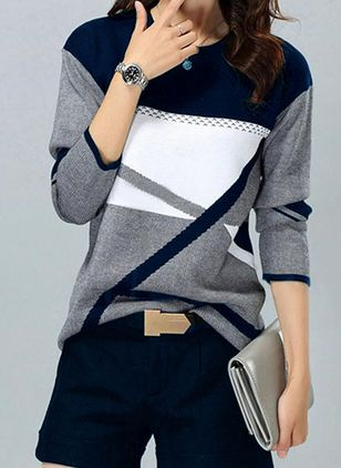 Round Neckline Color Block Casual Loose Regular Sweaters (110711736)