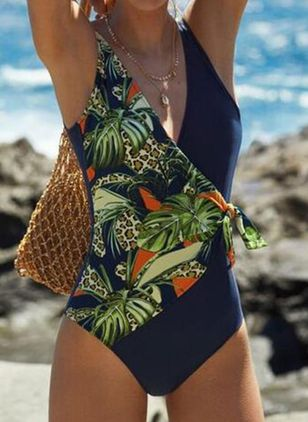 Polyester Floral One-piece Swimwear (4209660)