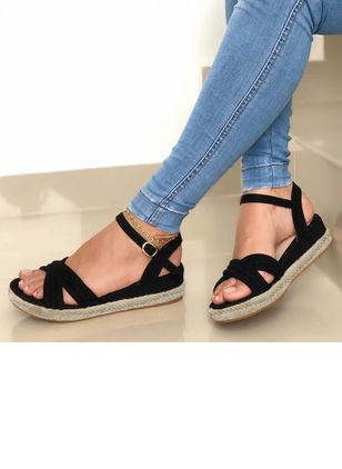 Women's Buckle Round Toe Wedge Heel Sandals
