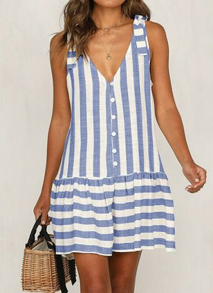 Casual Stripe Shirt V-Neckline Shift Dress (4865018)