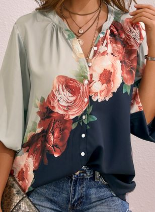 Floral Casual Collar Long Sleeve Blouses (1537347)