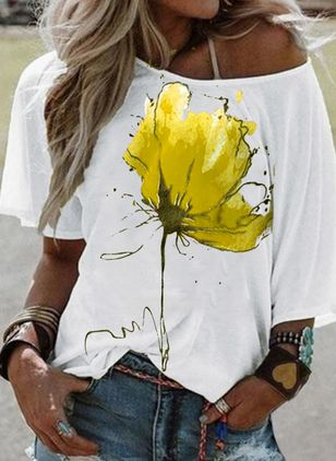 Floral Round Neck Half Sleeve Casual T-shirts (100546674)