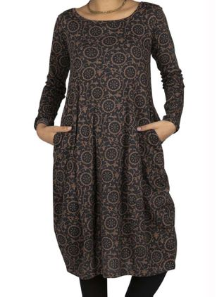 Casual Geometric Tunic Round Neckline A-line Dress (128228135)