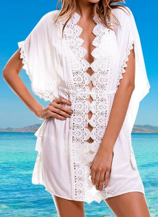 Polyester Solid Cover-Ups Swimwear (147158149)